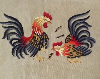 Vintage Fighting Roosters Needlepoint Rug Kit (Pre-embroidered) design Madeira Creations By Reynolds
