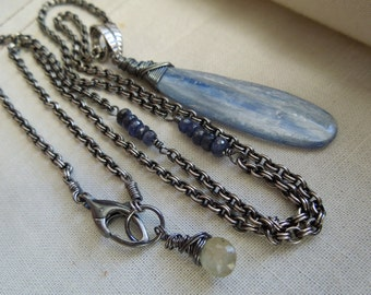 Blue Kyanite, Sapphire, Sterling Silver Asymmetrical Necklace-Drama