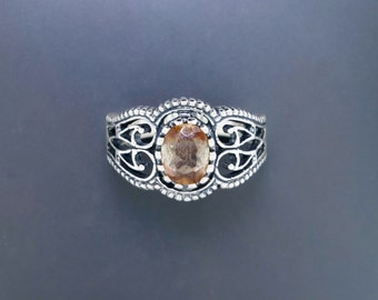 Vintage Style Filigree Ring with Andalusite in Sterling Silver