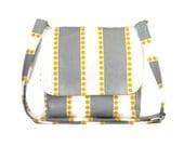 Gray and White Stripe Crossbody Bag, Small Fabric Messenger Bag for Women, Gray Yellow Purse, Cotton Pocketbook, Striped Handbag, Cross Body