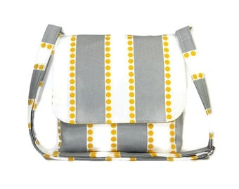 Gray and White Stripe Crossbody Bag, Small Fabric Messenger Bag for Women, Gray Yellow Purse, Cotton Pocketbook, Striped Handbag, Cross Body