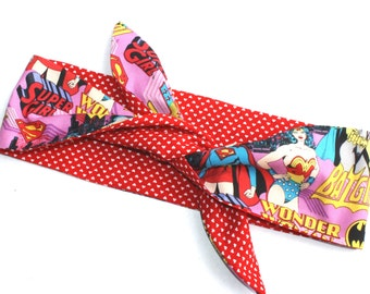ONLY 1 LEFT, Comic Book Headscarf, Super Girl, Wonder Woman, Bat Girl, Girl Power, Rockabilly