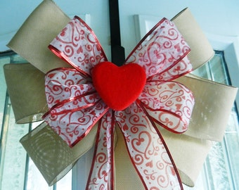 Large Valentine Door Bow Burlap red felt heart