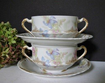 Antique Theodore Haviland Limoges Double Handled Cups and Saucers/ Cream Soup