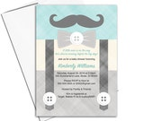 mustache baby shower invitation boys | little man baby shower invites suspenders | printable or printed - WLP00771