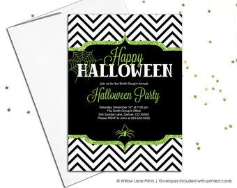Printable halloween invitations in green, black and white chevron | Adult Halloween party invites |  DIY digital or printed - WLP00564