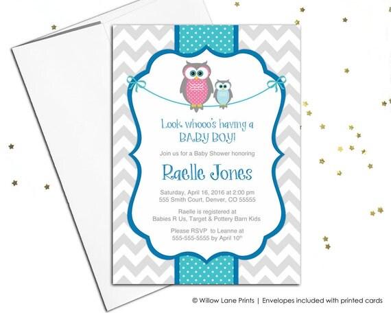 Chevron owl baby shower invitations for boys printable baby boys il570xn filmwisefo