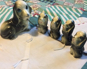 Vintage Chained Hound Dog and Puppies Made in Japan #3736