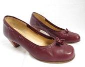 ZODIAC Marroon Leather Round Toe 70s Heels