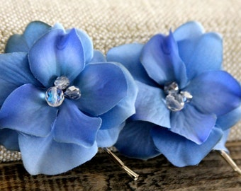 Bridal Hair clip set, deep blue hair clip set