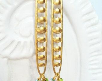 Lightweight Earrings, Long Beaded Dangle Earrings, Geometric Jewelry, Minimalist Earrings, Oval Brass Statement Earring, Brass Earrings