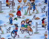 Michael Miller Lil' Cowgil western themed retro style western cowgirl fabric sold by the yard