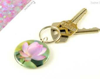 Lotus Flower - Pink Lotus - Sparkly Pink Flower Keychain - Sacred Lotus Flower - Glitter Keychain - Flower Keychanin - Yogi Gift