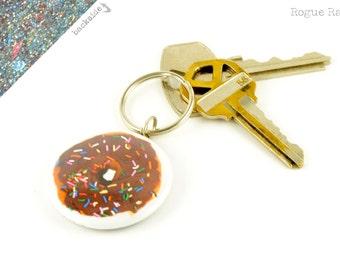 Doughnut Key Chain - Sparkly Donut Keychain - Glitter Key Ring - Chocolate Sprinkle Doughnut - Mmm, Donut - Sweet Tooth - Handmade Keychain