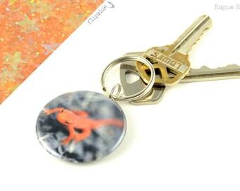 Salamander Keychain - Newt Key Chain - Orange Salamander Sparkly Keychain - Orange Glitter Keyring - Lizard Lover