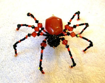 Beaded Spider in Black and Orange - Halloween Decoration, Christmas Spider Ornament