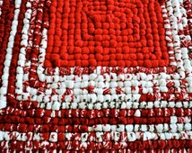 "Red and White Locker Hooking Mat / Hot Pad / Trivet - 10"" x 10-1/2"""