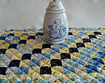 "Patchwork Quilted Table Runner, Table Topper, Centerpiece, Mat, Tablecloth - Shades of Blue and Yellow - 20"" wide x 34"" long"
