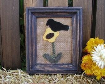 Primitive Sunflower & Crow Framed  Folk Art