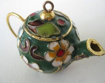 Teapot Pendant/Cloisonne enamel/Green/Miniature/Doll accessory