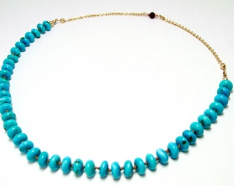 Kingman Turquoise Knotted Necklace Gold Filled with One Garnet