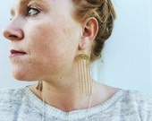 Chandelier Earrings, Dangle Earrings, Fringe Earrings, Boho Jewelry, Hammered Metal, Gift for Her