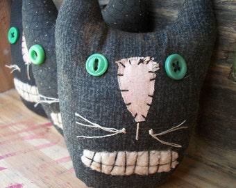Primitive Black Cat Raggedy Halloween Bowl Fillers Folk Art Ornies