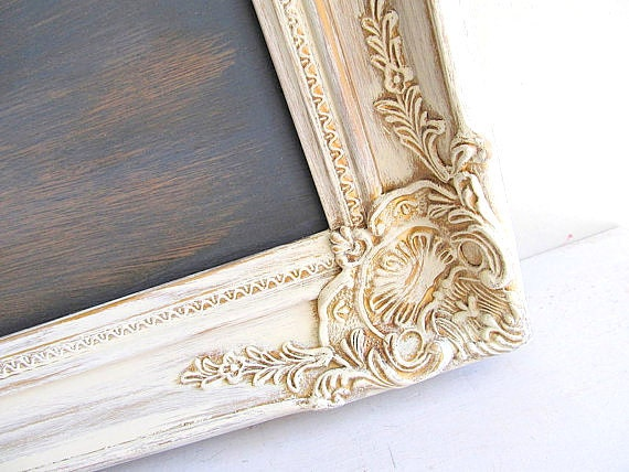 RUSTIC Wedding Decor Chalkboard Sign Vintage Wedding Decor Framed Chalkboard Old World Ornate Cream Distressed Wood Shabby Chic Farmhouse