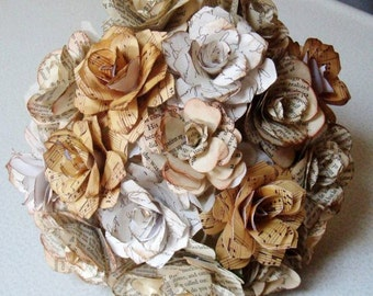 Special Pages Paper Roses Wedding Bouquet  6 to 7 inch Book, Music,Love,Map Pages