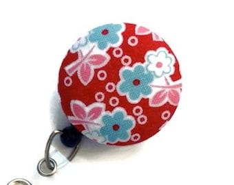 Retractable Badge Holder ID Badge Holder Badge Reel Retractable Lanyard Name Badge Holder Swivel Badge Clip ID Holder RN Id Floral Red