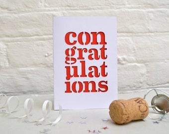 Congratulations Papercut Card - Well done card - Engagement Card - Birthday Card - Anniversary Card - Celebration Card - Wedding Card