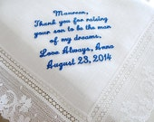 Wedding Handkerchief for Mother of the Groom from the Bride, Thank you for raising your son to be the man of my dream.