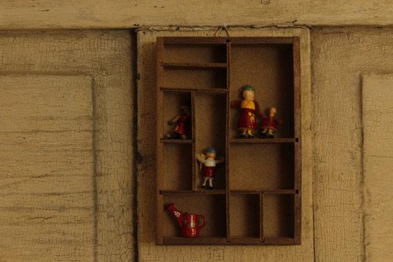 Vintage Knick-Knack Shelf Wood Wall Shelf Divided Display