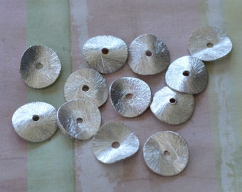 20pcs Copper Metal Beads 6x1mm Silver-Plated Brushed Wavy Rondelle Spacer