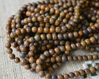 100pcs 4mm Chrysanthemum Stone Natural Gemstone Beads 16 Inches