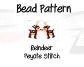 Reindeer Christmas Design Pattern, Peyote Stitch Beading   PDF Download