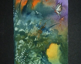 fantasy butterfly art painting watercolour aceo ref 315