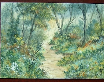 art painting watercolour woodland landscape ref 321