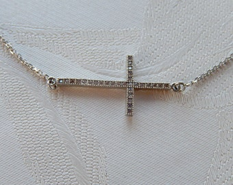 Cross Necklace, Sideways Cross, Sterling Chain, CZ Stones, Gift Idea