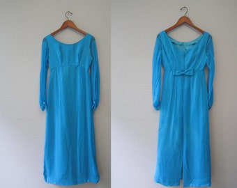 Vintage full length blue Evening Gown Dress by Lorrie Deb