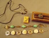RESERVE FOR LAURA - Vintage Lot Asian China Marked Ring Mahjong Tile Pendant Necklace 2 Link Bracelets Carved Roses Coins 8576