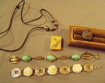Vintage Lot Asian China Marked Ring Mahjong Tile Pendant Necklace 2 Link Bracelets Carved Roses Coins 8576