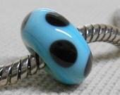 SRA Glass Handmade Lampwork Bead Light Blue with Retro Dots European Charm Bead