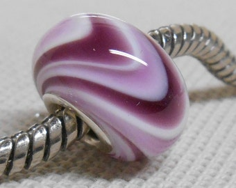 Handmade Glass Lampwork European Charm Bracelet Bead Large Hole Bead White with Dark and Light Purple Swirl