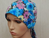 Floral chemotherapy cap, cancer patients head wrap, hair loss caps, cancer cotton bonnet, light weight chemo head wear, alopecia hair wrap