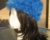 Blue fuzzy hat - small