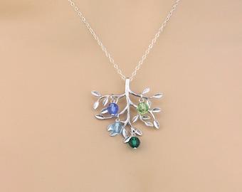 Personalized Birthstone Necklace, Family Tree Necklace, Family Jewlery, Mothers Necklace, Gold Family Tree Pendant, Xmas Gift for Grandma