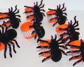 Halloween Bling Napkin Rings Set of 8 Parties Spiders Black Orange Purple