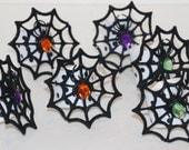 Halloween Web Bling Napkin Rings Set of 6 Parties Spiders Black Orange Purple Green