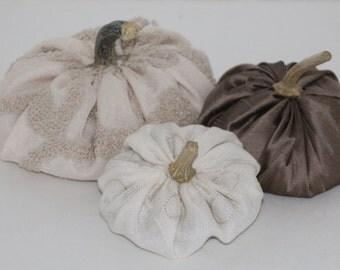 Pumpkins Stuffed Set of 3 Neutral Colors Decoration Fall Halloween